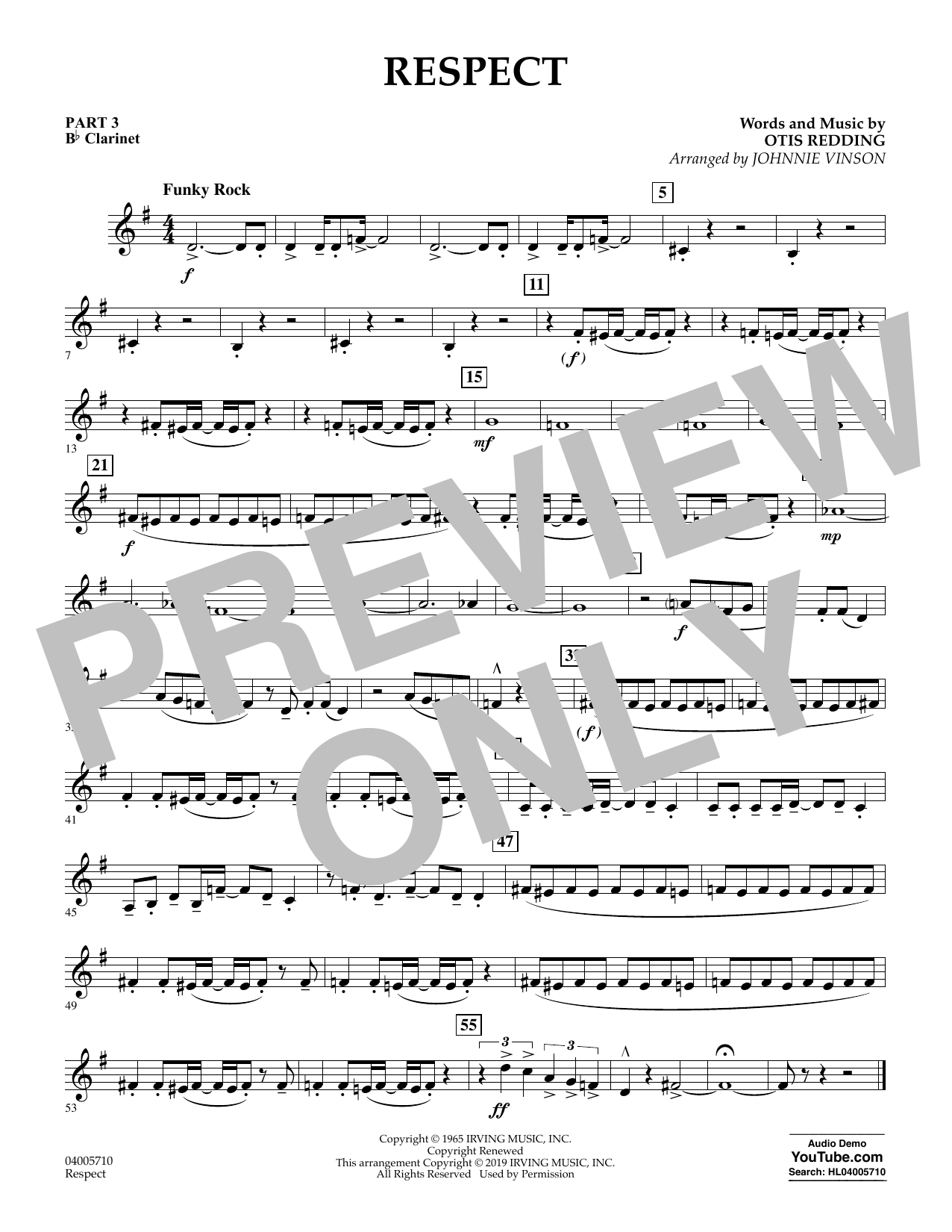 Respect (arr. Johnnie Vinson) - Pt.3 - Bb Clarinet (Flex-Band)