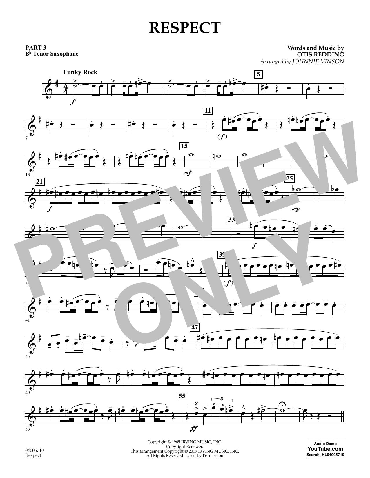 Respect (arr. Johnnie Vinson) - Pt.3 - Bb Tenor Saxophone (Flex-Band)