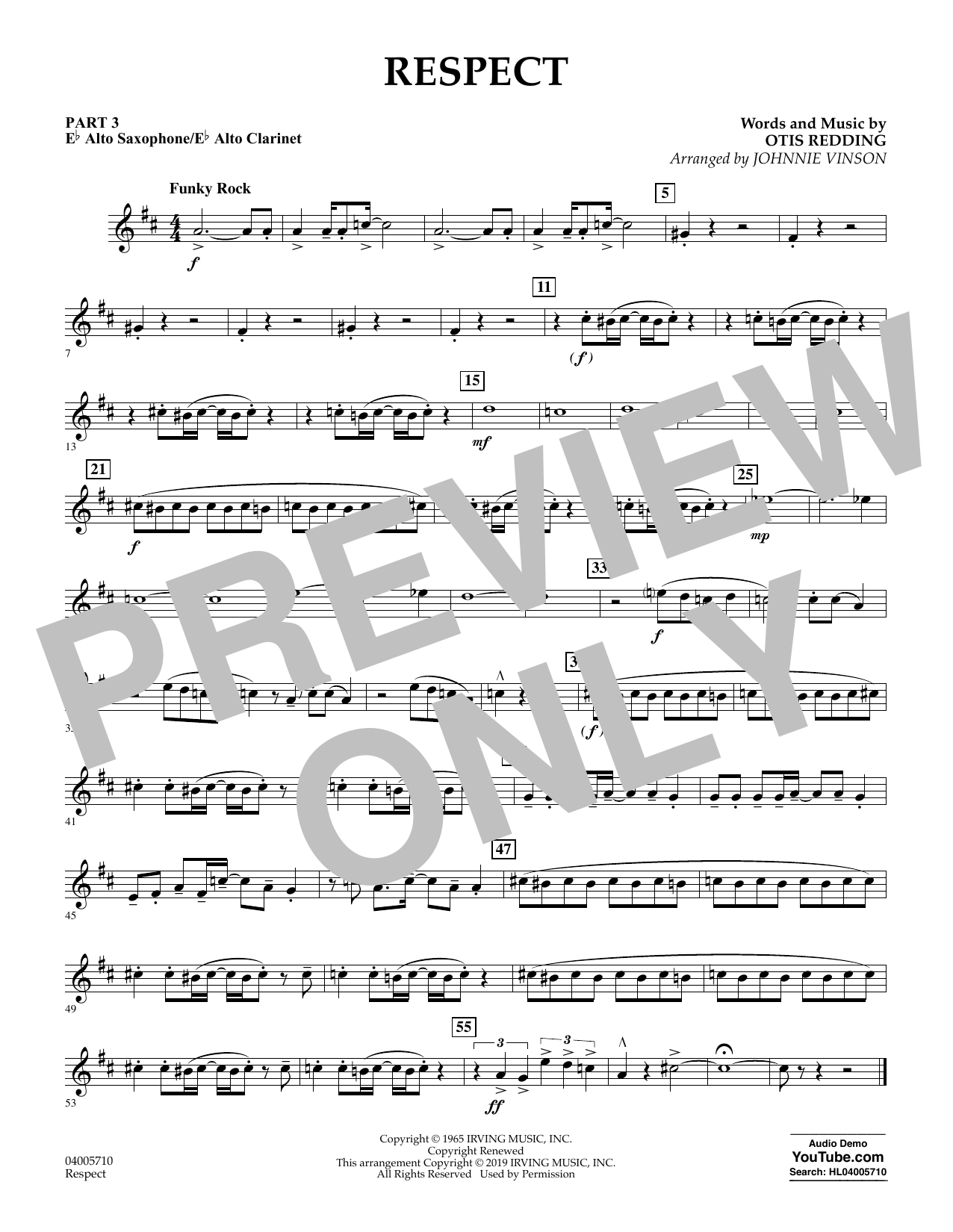Respect (arr. Johnnie Vinson) - Pt.3 - Eb Alto Sax/Alto Clar. (Flex-Band)