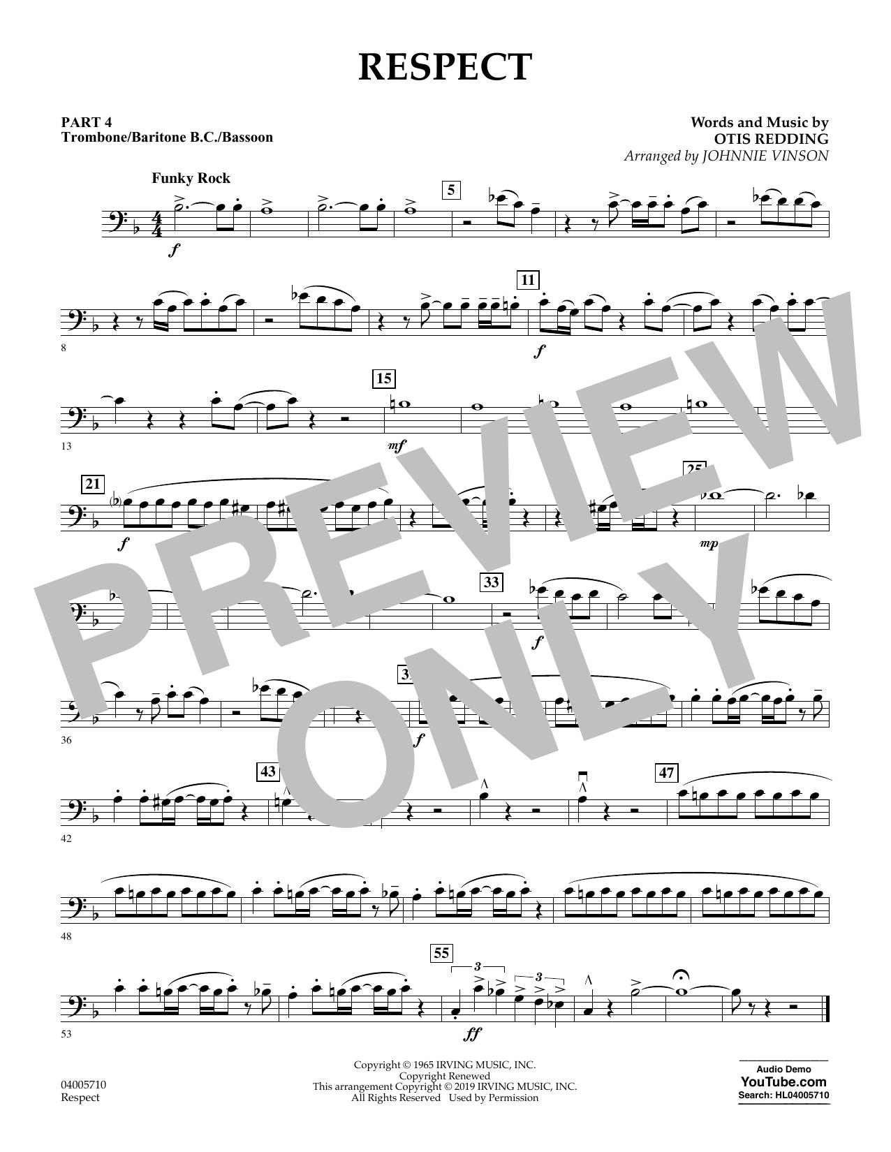 Respect (arr. Johnnie Vinson) - Pt.4 - Trombone/Bar. B.C./Bsn. (Flex-Band)