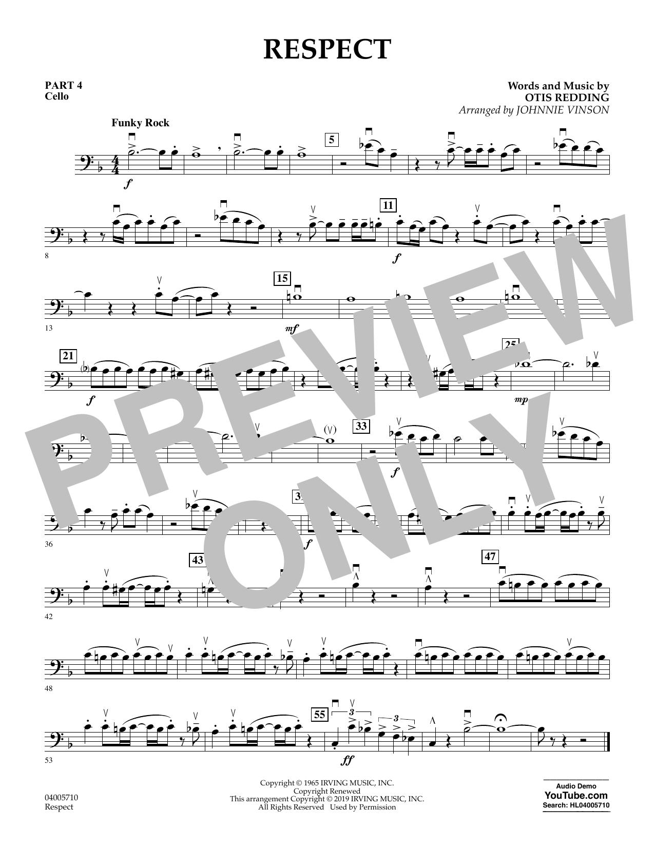 Respect (arr. Johnnie Vinson) - Pt.4 - Cello (Flex-Band)