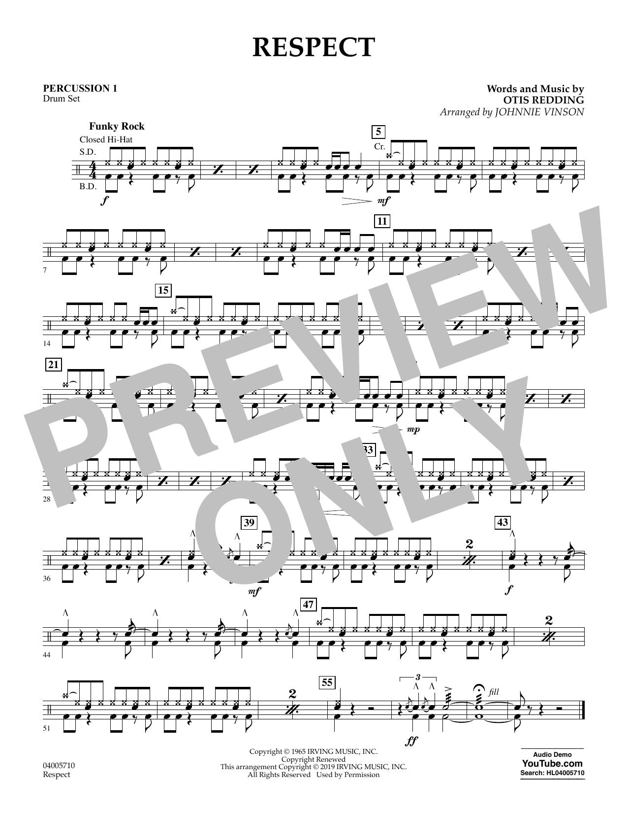 Respect (arr. Johnnie Vinson) - Percussion 1 (Flex-Band)