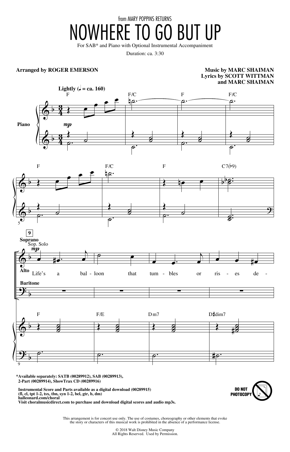 Nowhere To Go But Up (from Mary Poppins Returns) (arr  Roger Emerson) Sheet  Music