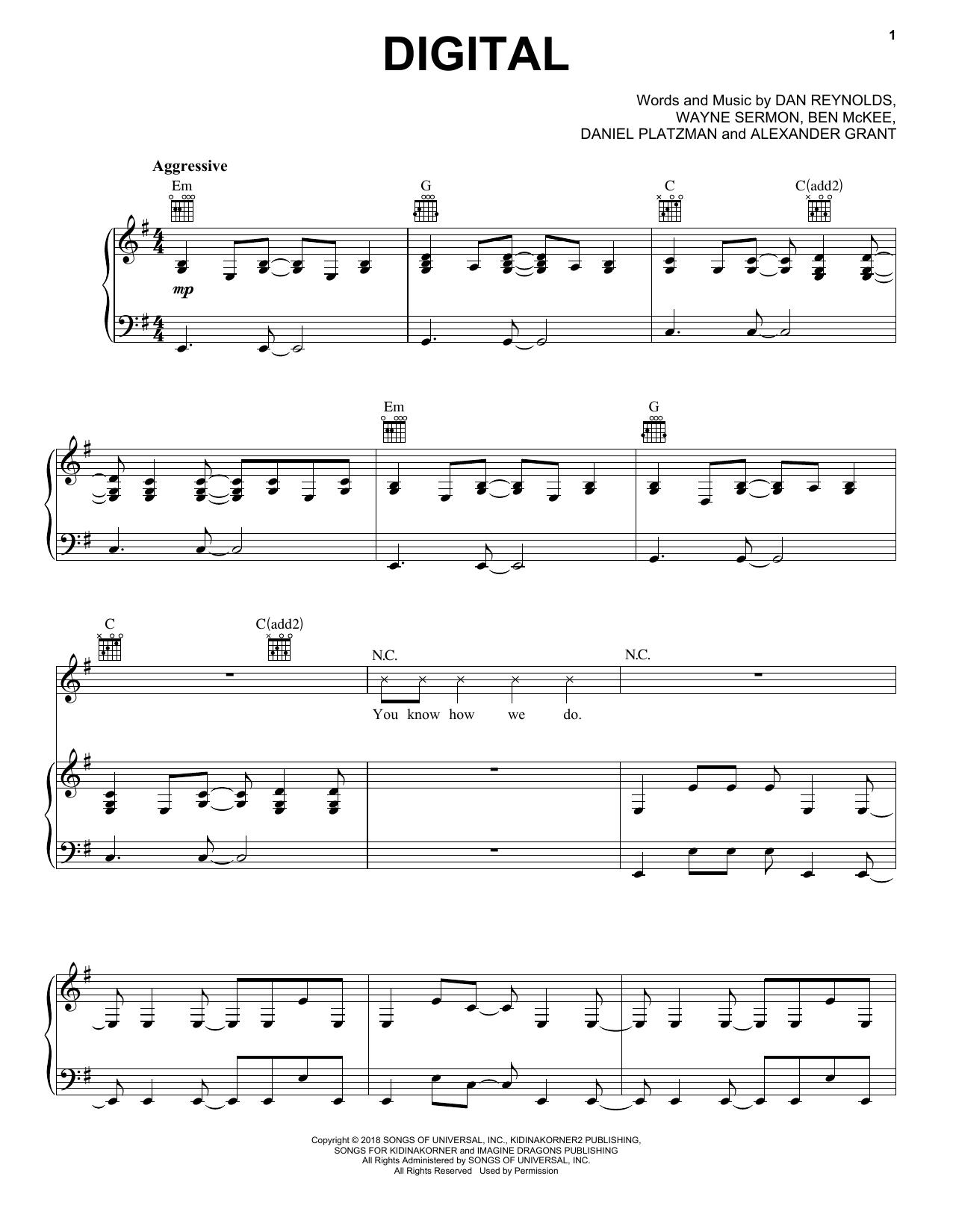 Digital (Piano, Vocal & Guitar (Right-Hand Melody))