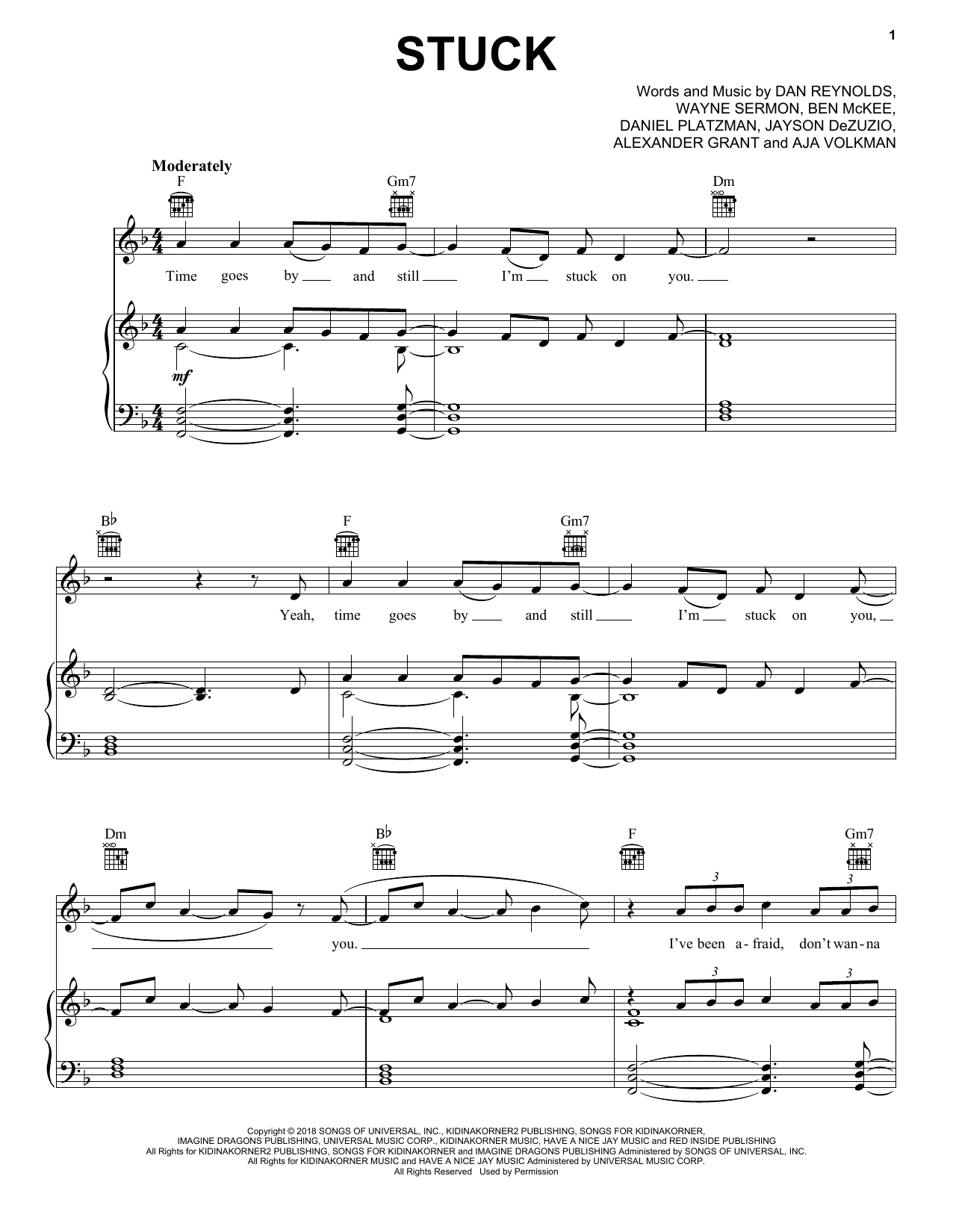 Stuck (Piano, Vocal & Guitar (Right-Hand Melody))