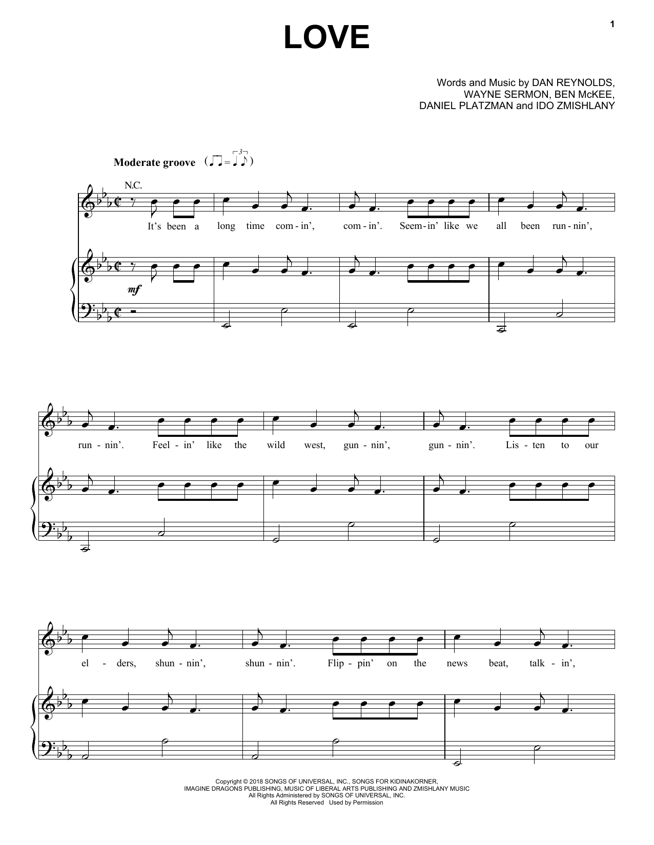 Love (Piano, Vocal & Guitar (Right-Hand Melody))