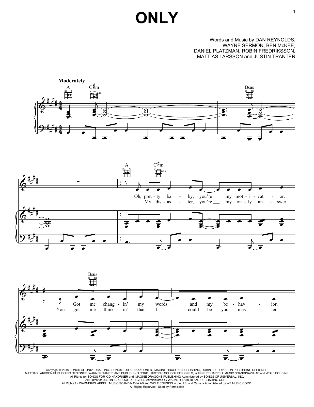 Only (Piano, Vocal & Guitar (Right-Hand Melody))