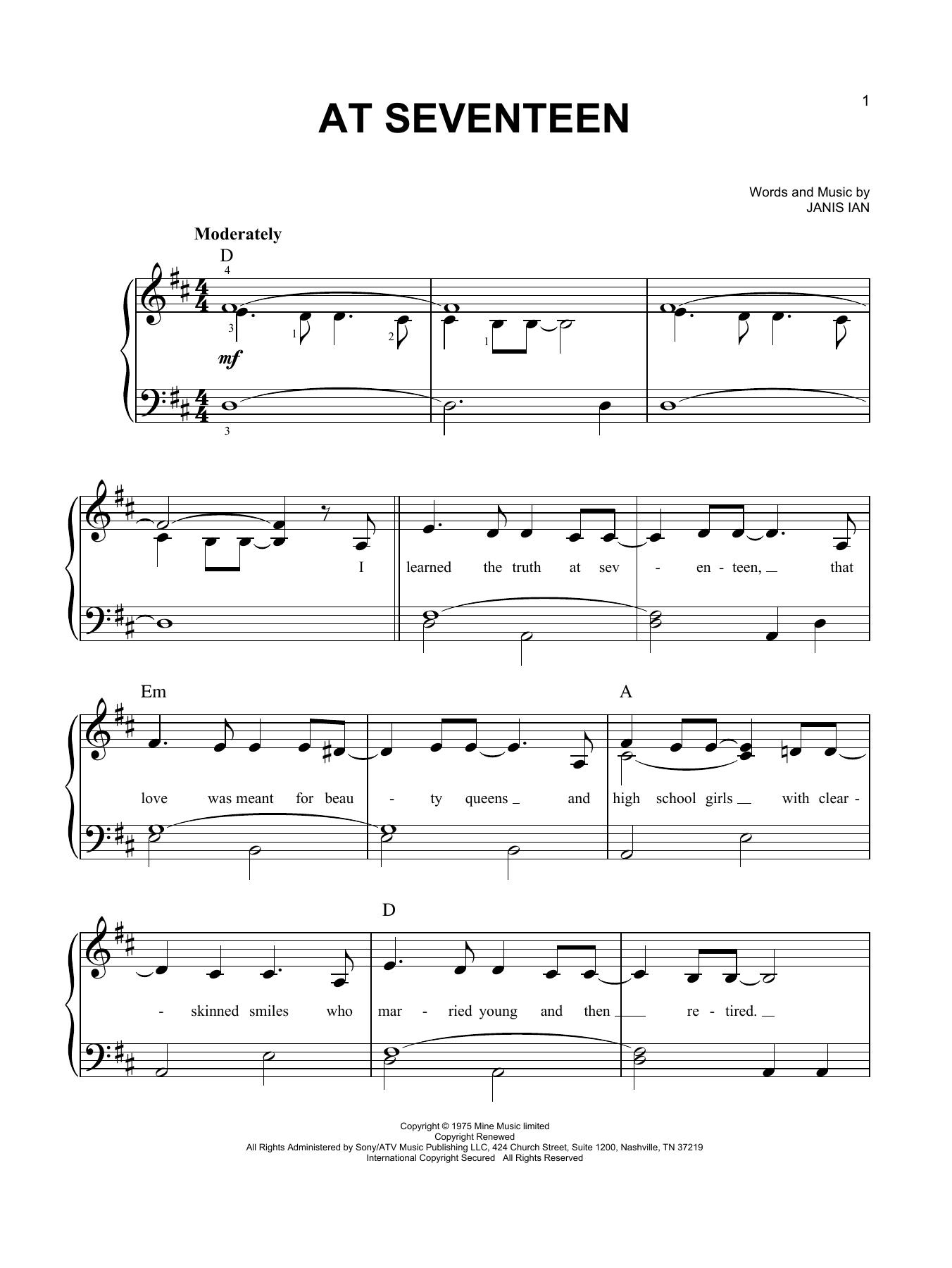 At Seventeen (Easy Piano)