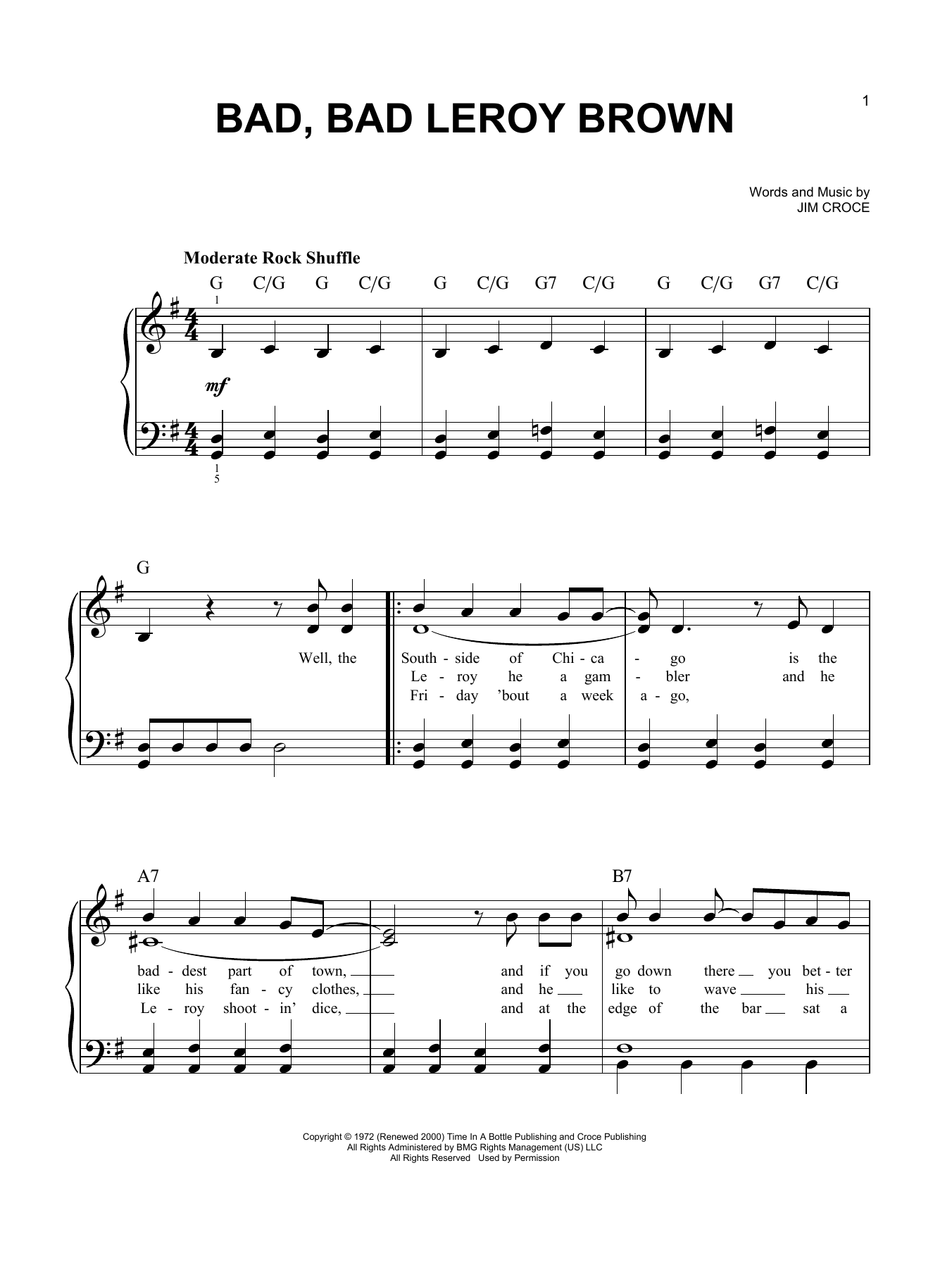 Bad, Bad Leroy Brown (Easy Piano)