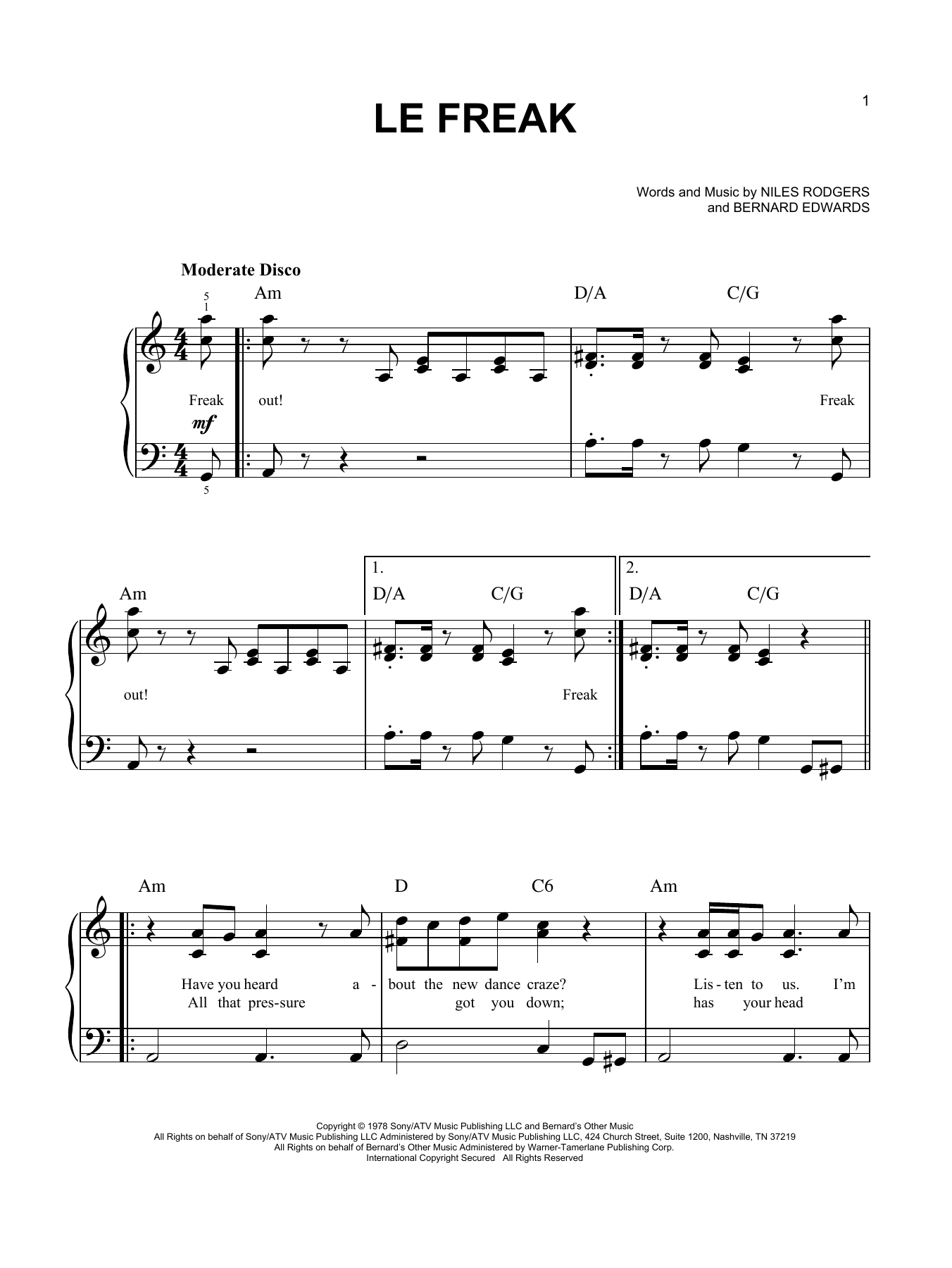 Le Freak (Easy Piano)