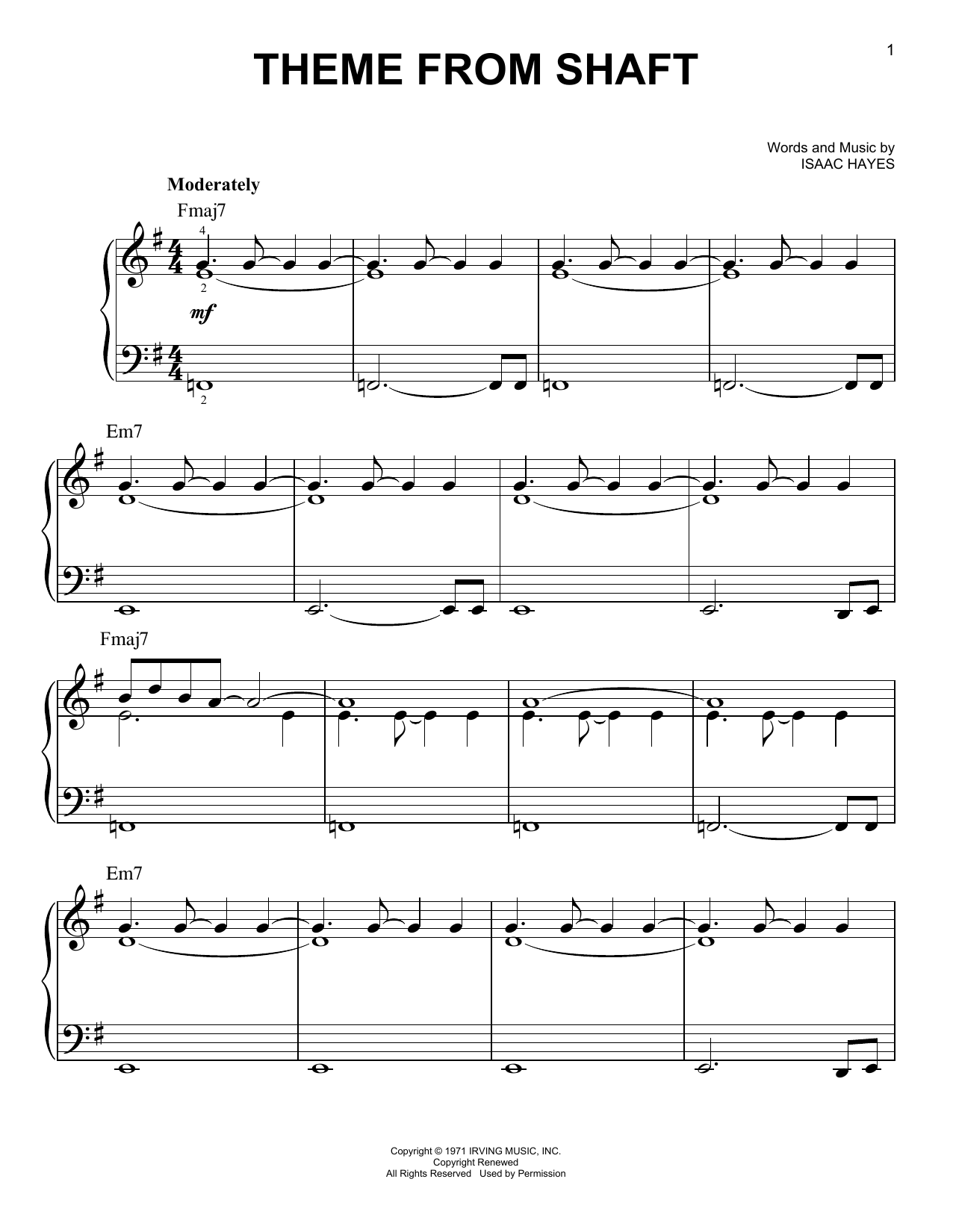 Theme From Shaft (Easy Piano)