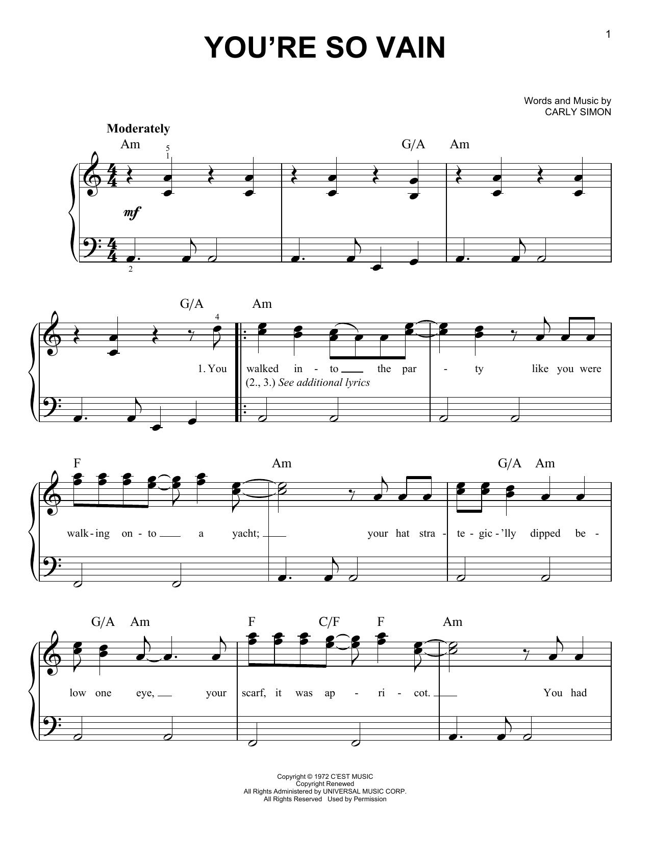 You're So Vain (Easy Piano)
