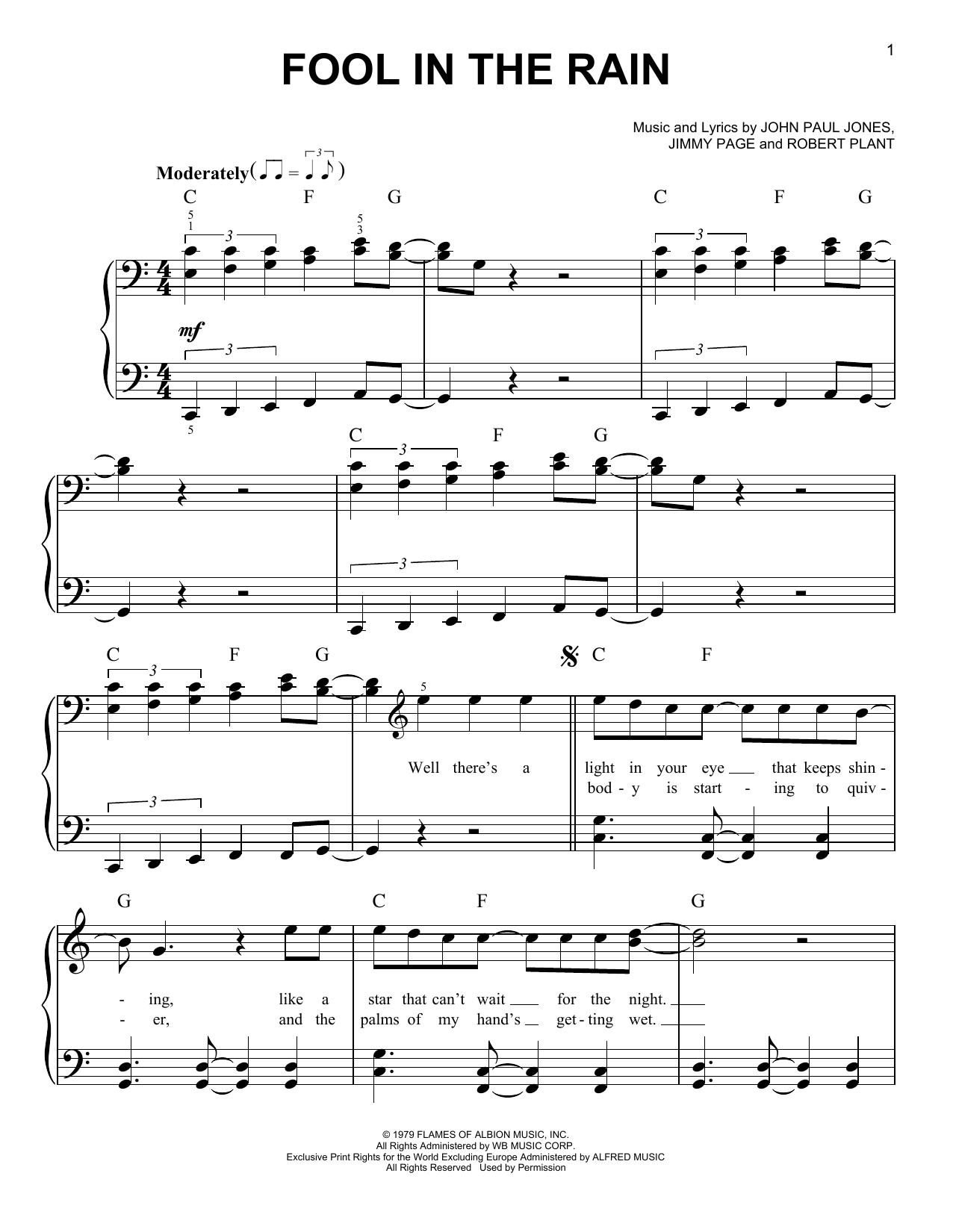 Fool In The Rain (Easy Piano)