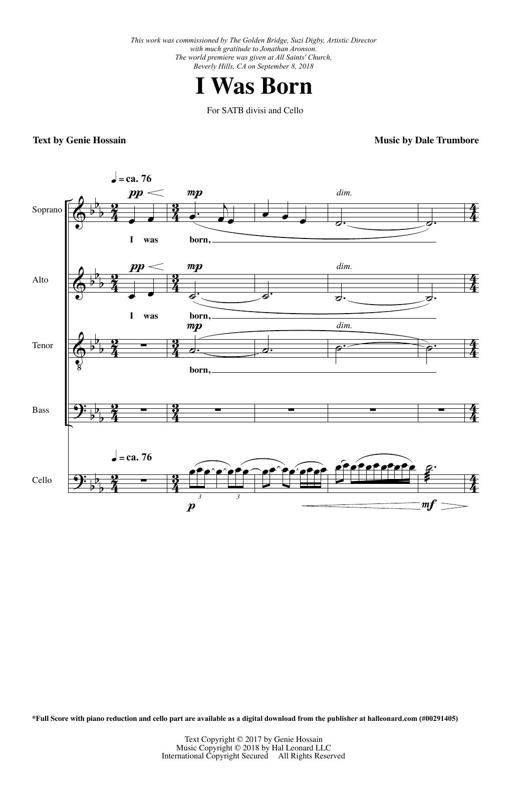 I Was Born (SATB Choir)