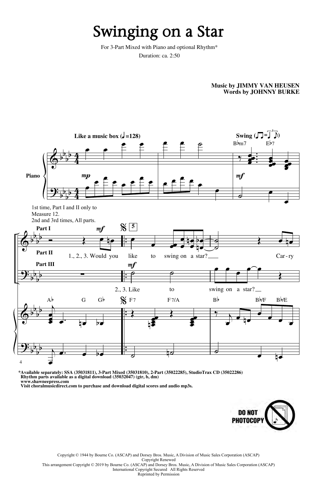Swinging on a Star (arr. Greg Gilpin) (3-Part Mixed Choir)