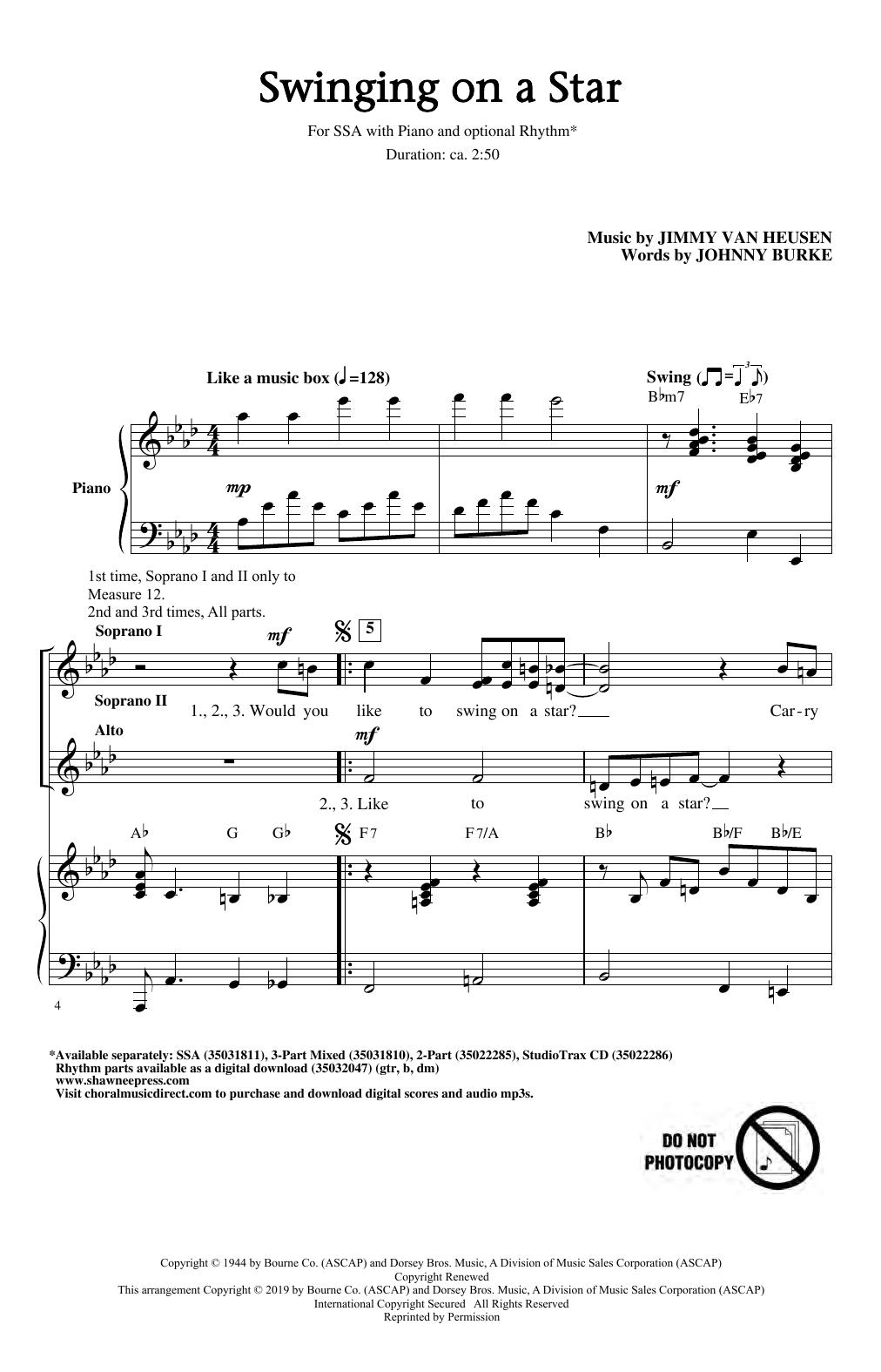 Swinging on a Star (arr. Greg Gilpin) (SSA Choir)