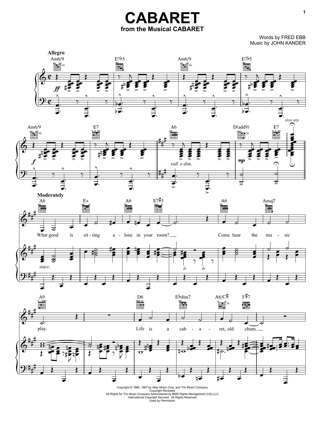 Cabaret (Vocal Pro + Piano/Guitar)