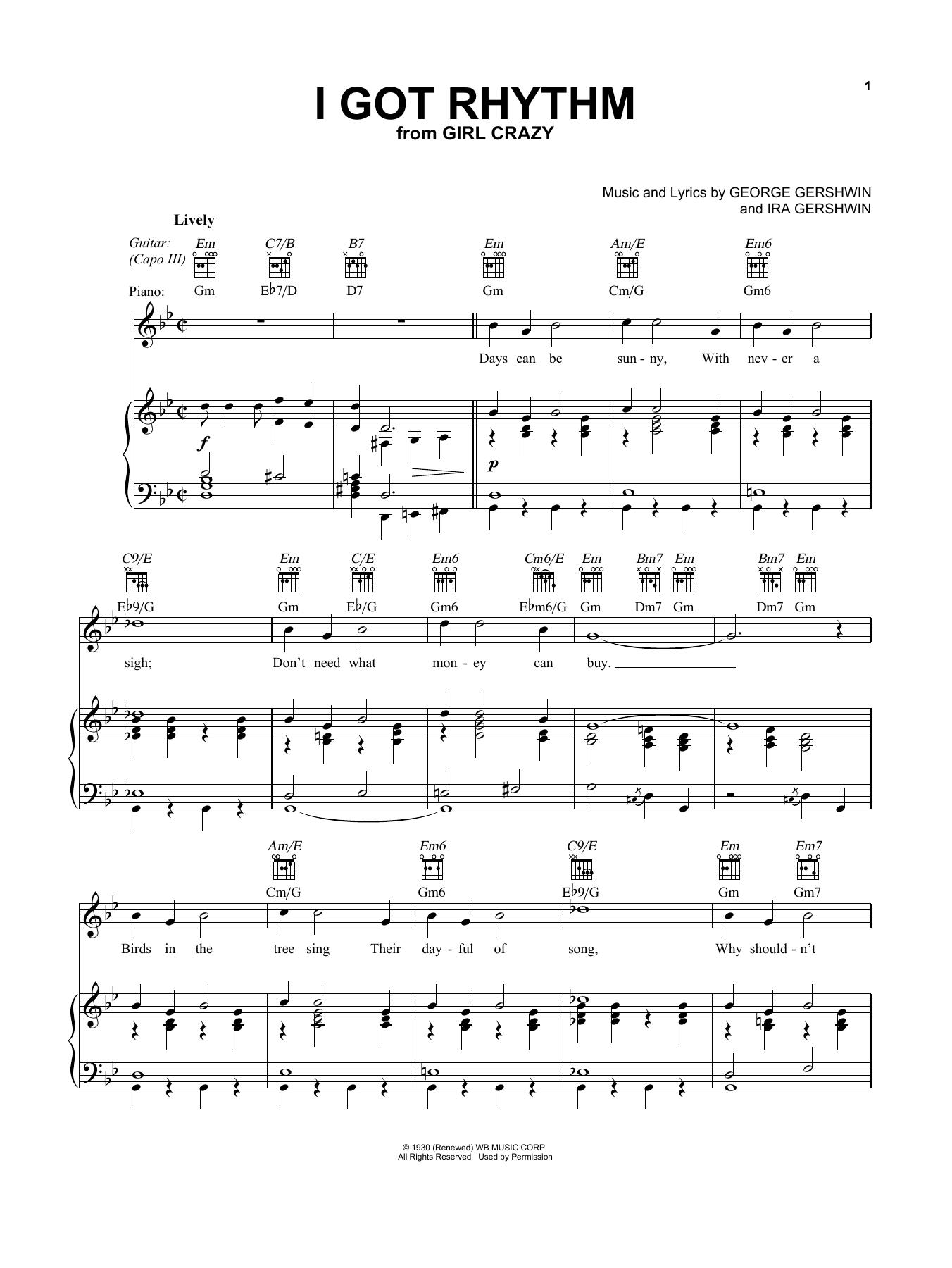 I Got Rhythm (Vocal Pro + Piano/Guitar)