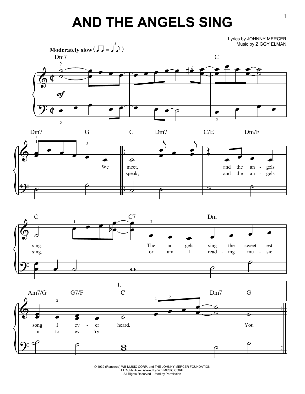 And The Angels Sing (Easy Piano)