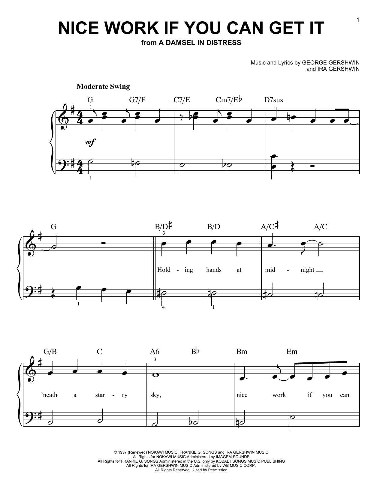 Nice Work If You Can Get It (Easy Piano)