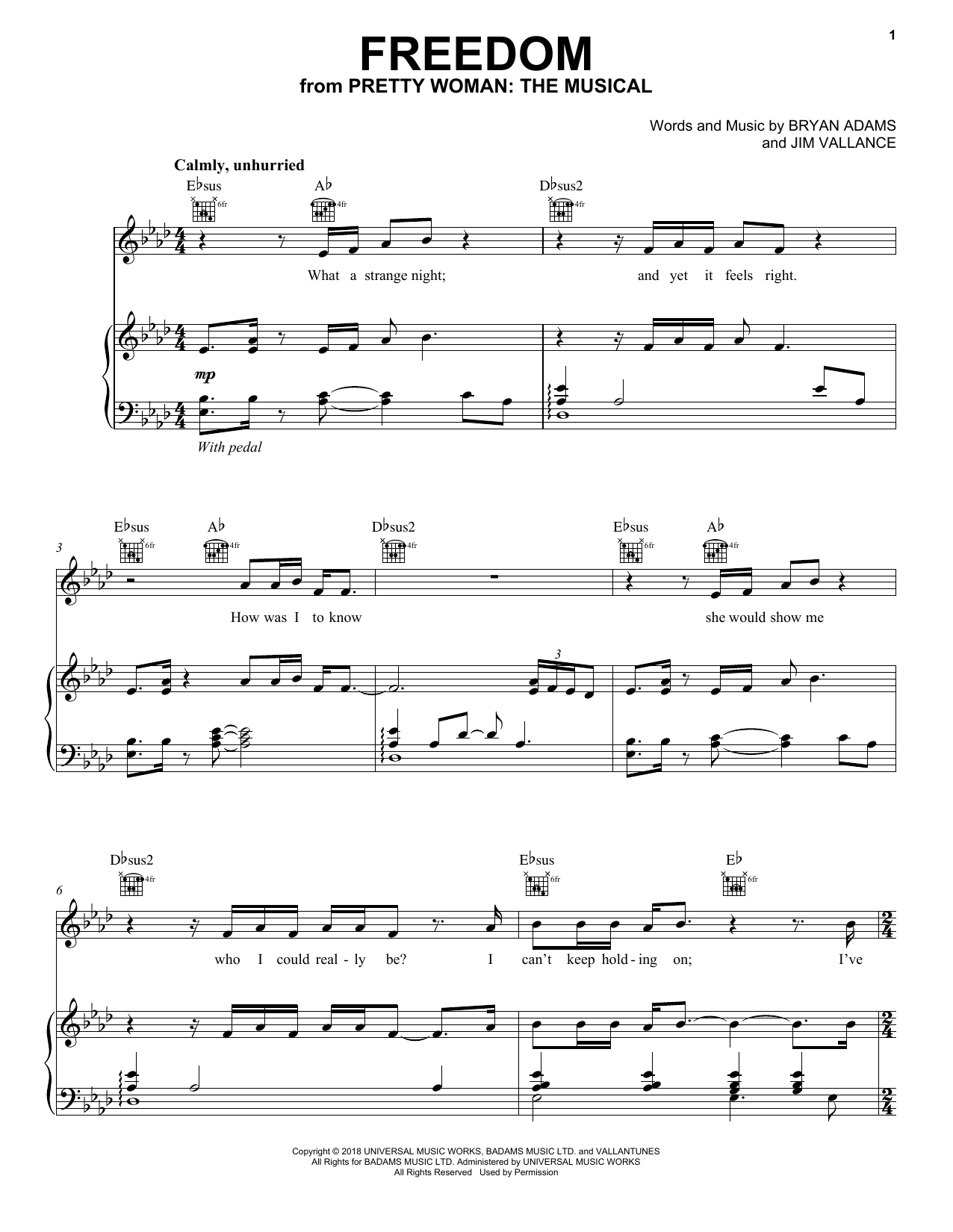 Freedom (from Pretty Woman: The Musical) (Piano, Vocal & Guitar (Right-Hand Melody))