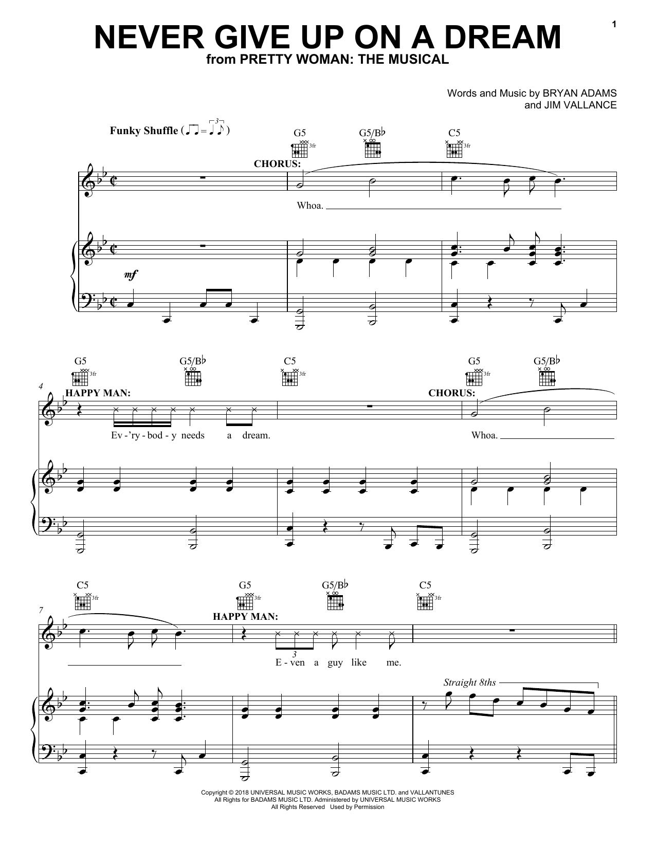 Never Give Up On A Dream (from Pretty Woman: The Musical) (Piano, Vocal & Guitar (Right-Hand Melody))