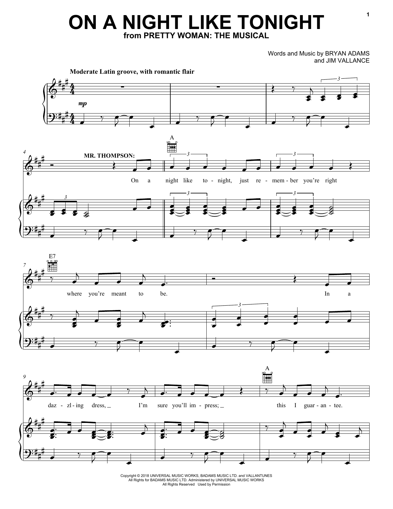 On A Night Like Tonight (from Pretty Woman: The Musical) (Piano, Vocal & Guitar (Right-Hand Melody))