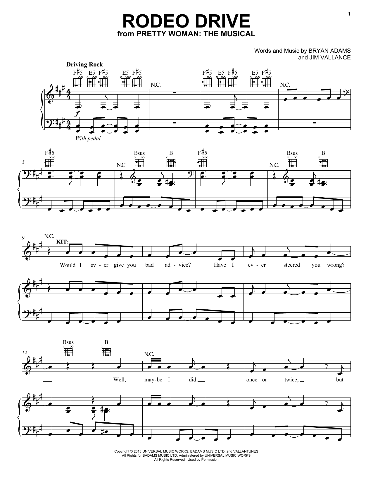 Rodeo Drive (from Pretty Woman: The Musical) (Piano, Vocal & Guitar (Right-Hand Melody))