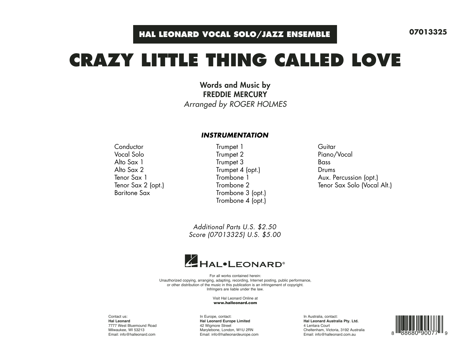 Crazy Little Thing Called Love (arr. Roger Holmes) - Conductor Score (Full Score) (Jazz Ensemble)