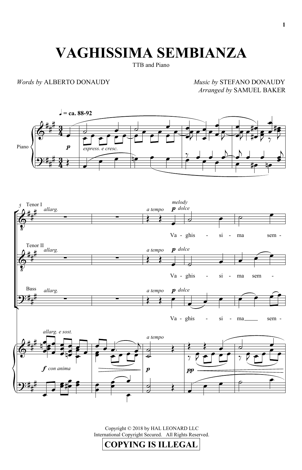 Vaghissima Sembianza (arr. Samuel Baker) (TTBB Choir)