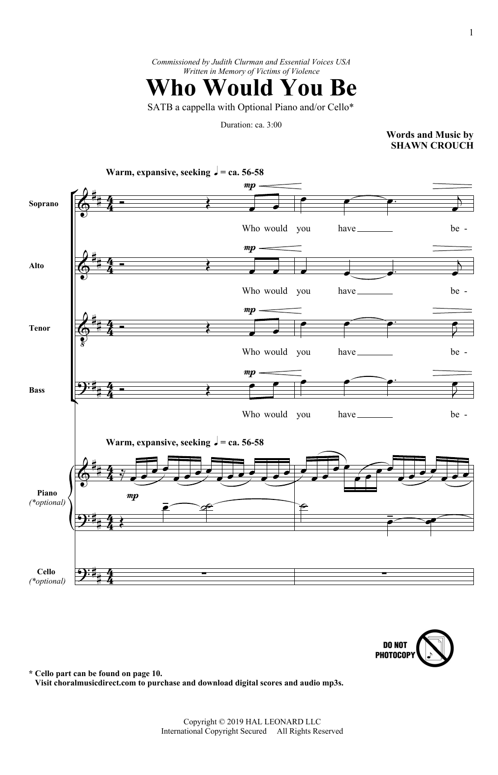 Who Would You Be? (SATB Choir)