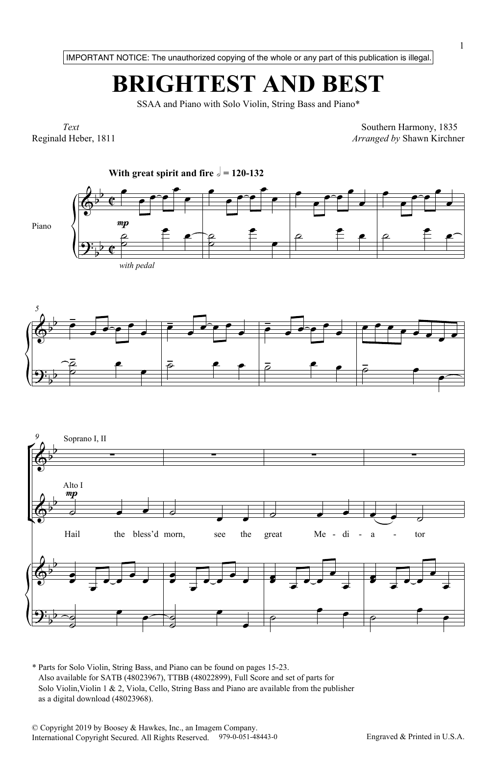 Brightest And Best Sheet Music