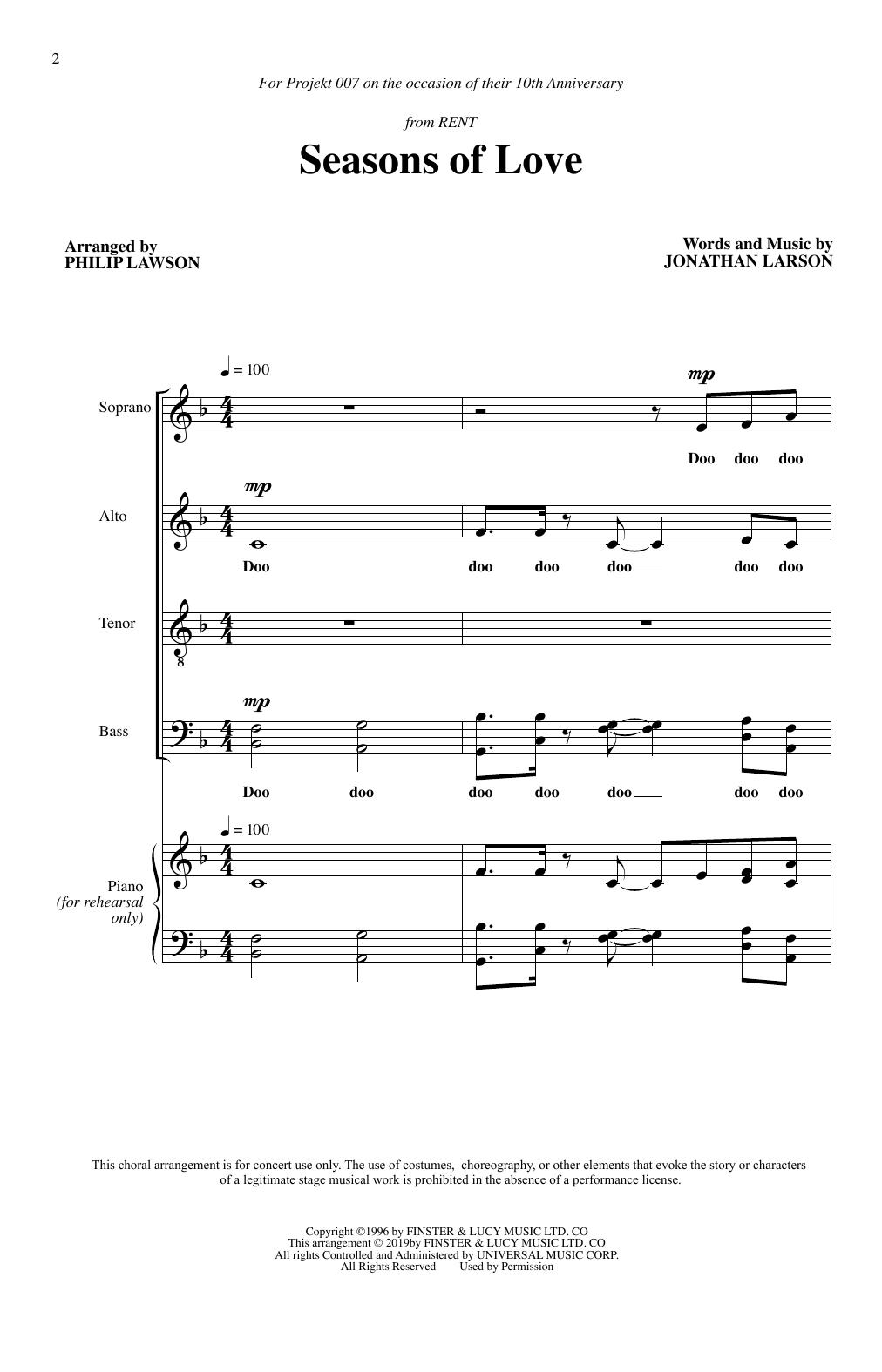 Seasons Of Love (from Rent) (arr. Philip Lawson) (SATB Choir)