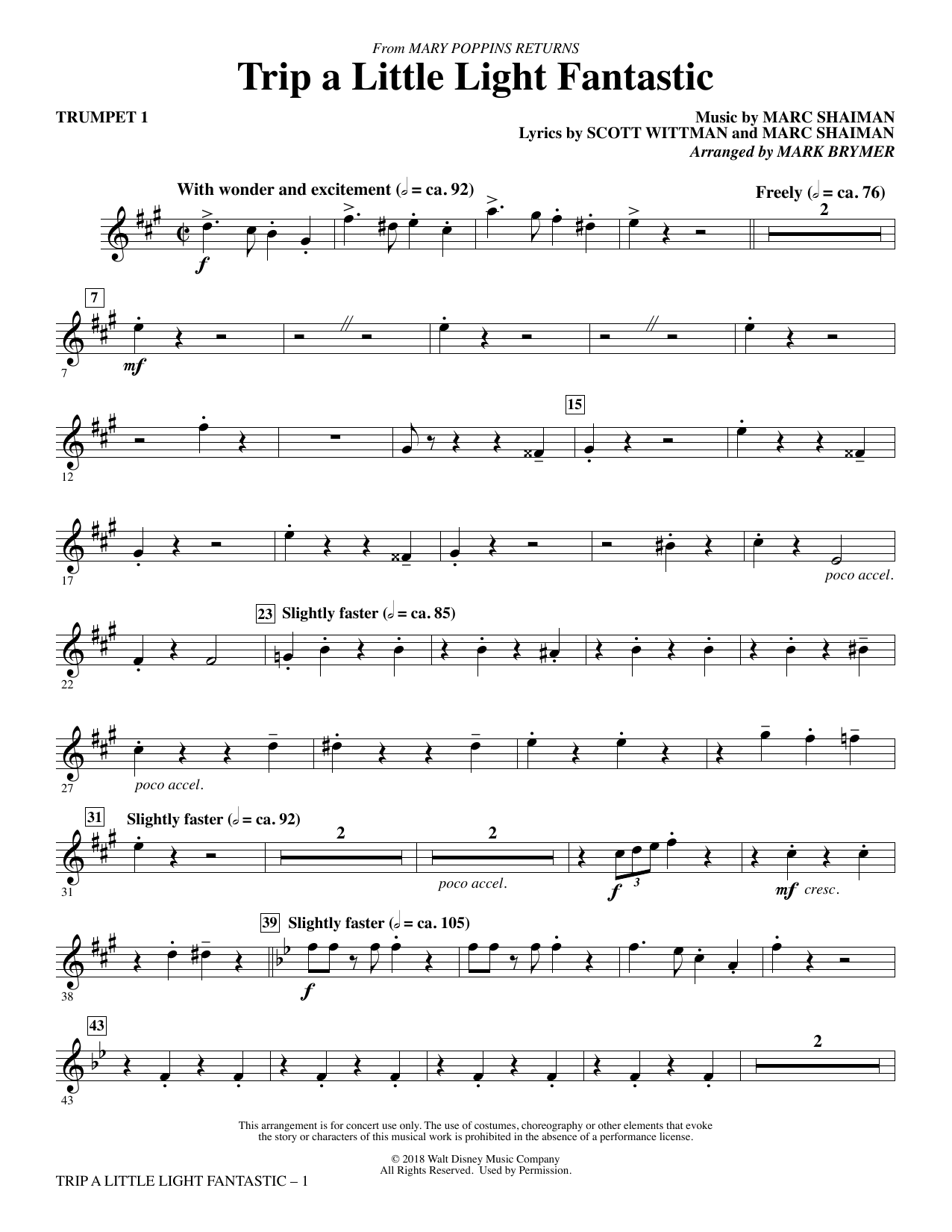 Trip a Little Light Fantastic (from Mary Poppins Returns) (arr. Mark Brymer) - Trumpet 1 (Choir Instrumental Pak)