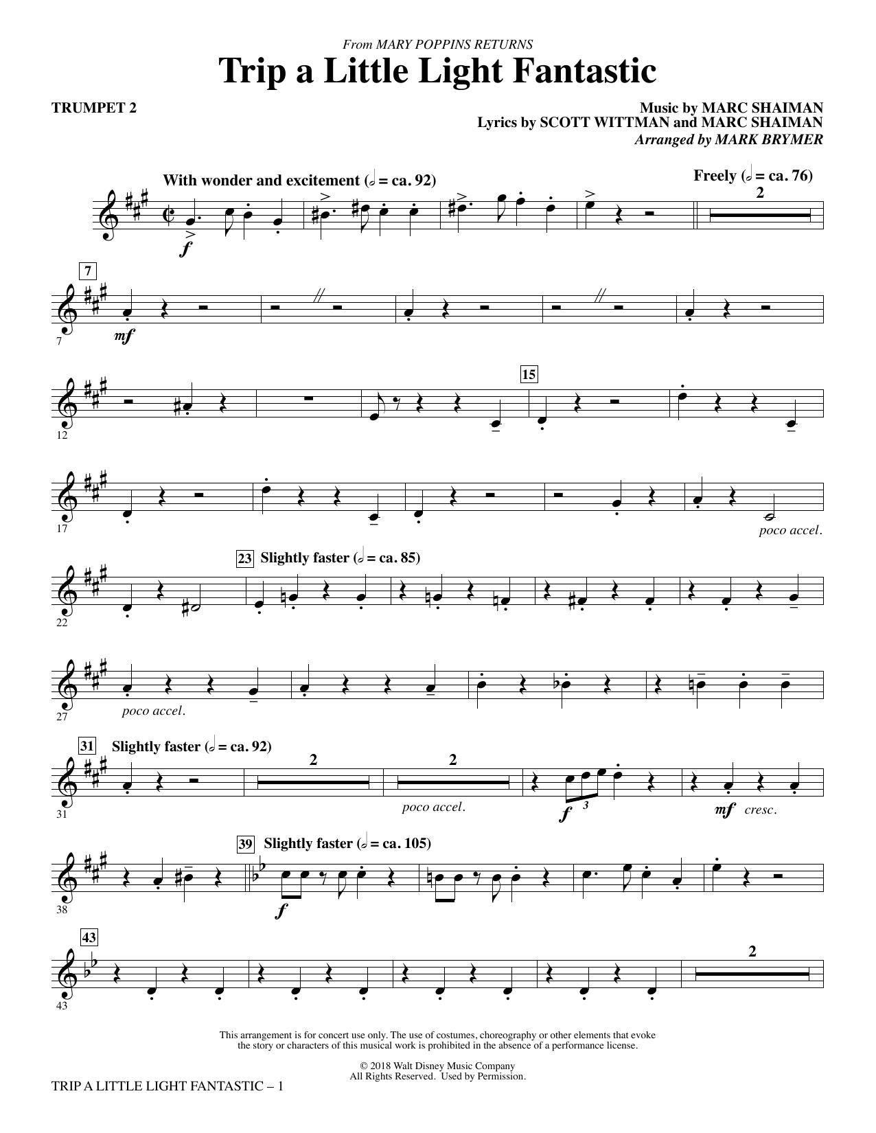 Trip a Little Light Fantastic (from Mary Poppins Returns) (arr. Mark Brymer) - Trumpet 2 (Choir Instrumental Pak)