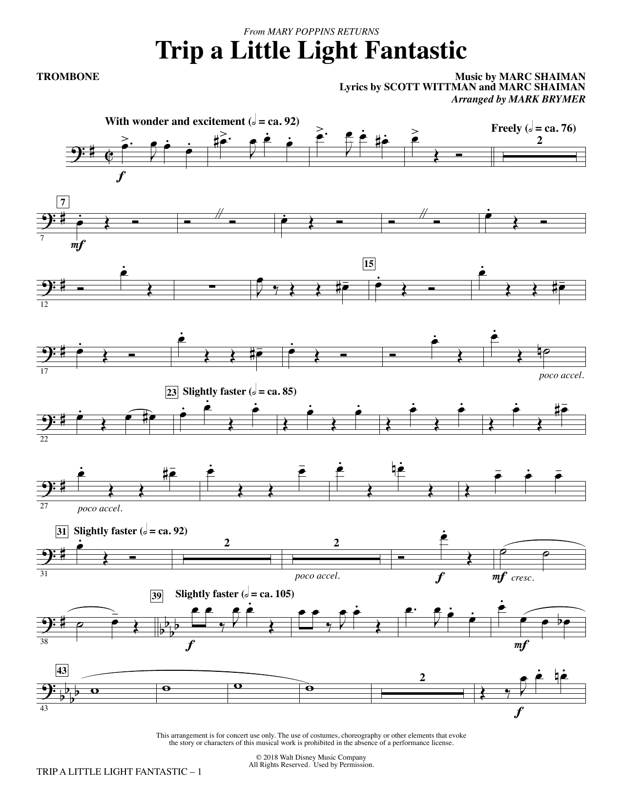 Trip a Little Light Fantastic (from Mary Poppins Returns) (arr. Mark Brymer) - Trombone (Choir Instrumental Pak)