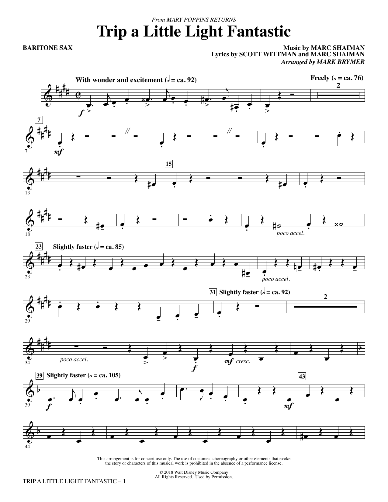 Trip a Little Light Fantastic (from Mary Poppins Returns) (arr. Mark Brymer) - Baritone Sax (Choir Instrumental Pak)