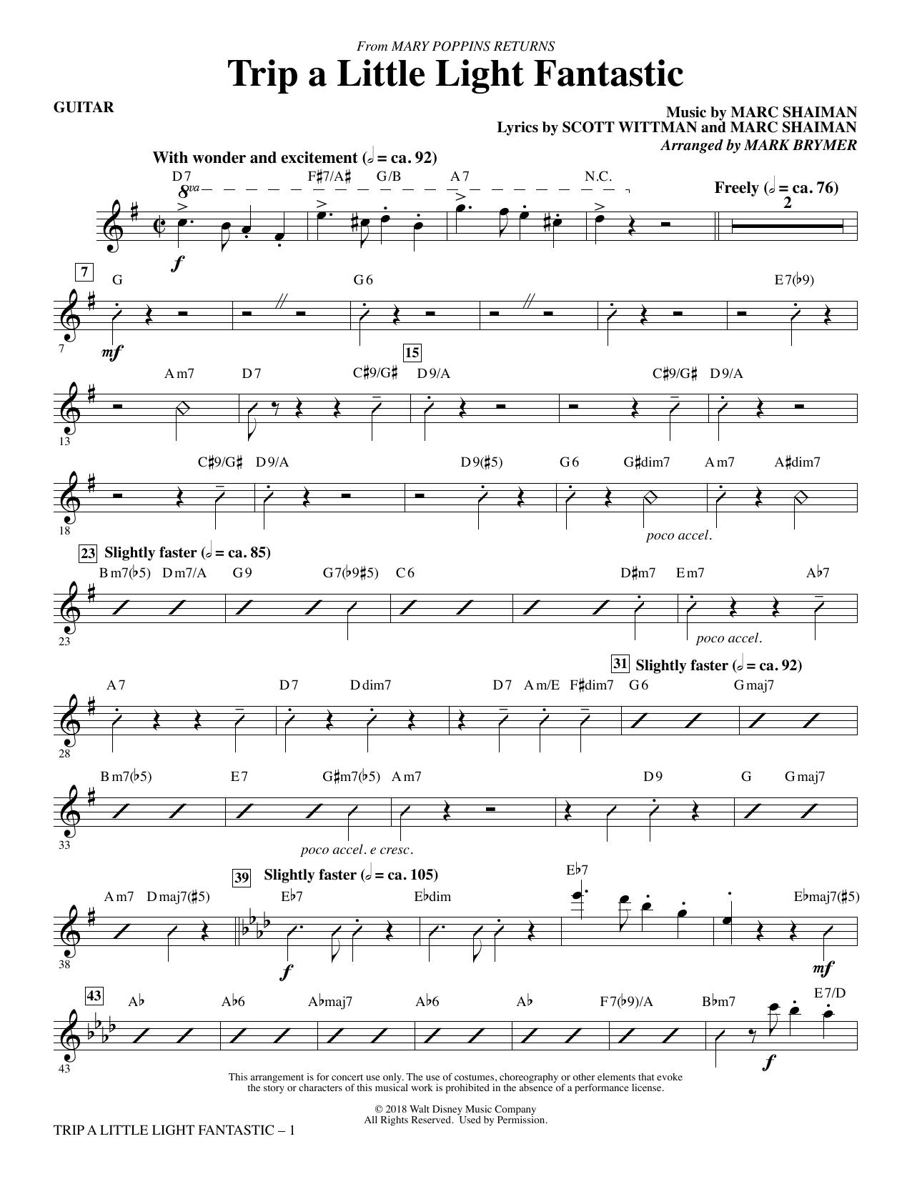 Trip a Little Light Fantastic (from Mary Poppins Returns) (arr. Mark Brymer) - Guitar (Choir Instrumental Pak)