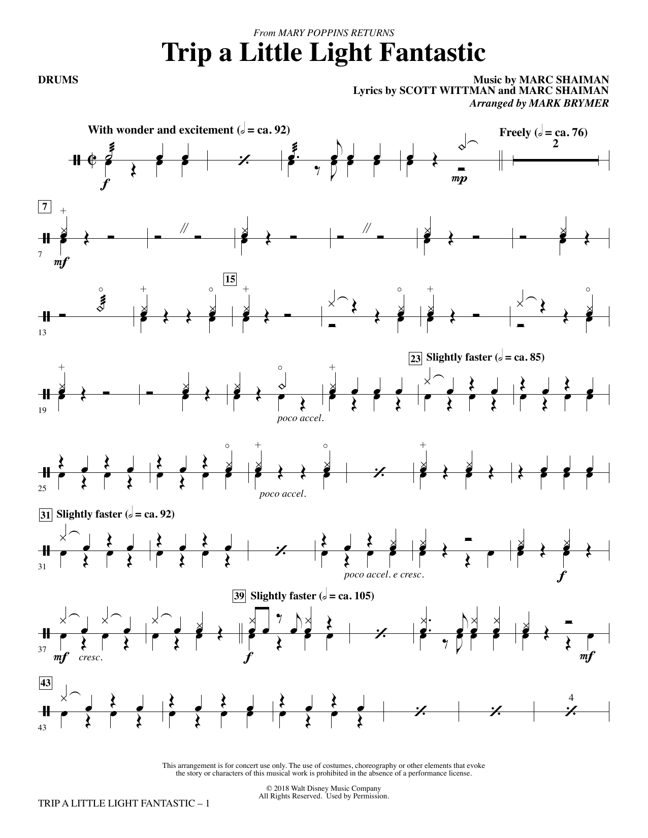 Trip a Little Light Fantastic (from Mary Poppins Returns) (arr. Mark Brymer) - Drums (Choir Instrumental Pak)