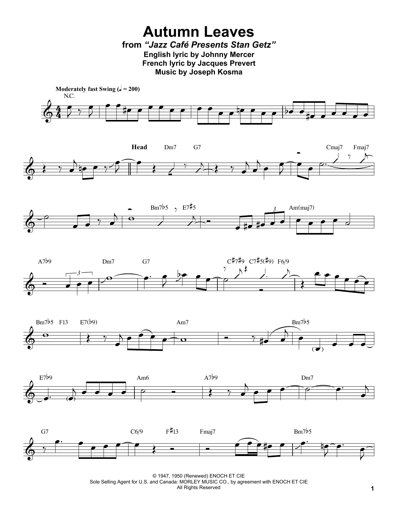 Autumn Leaves (Alto Sax Transcription)
