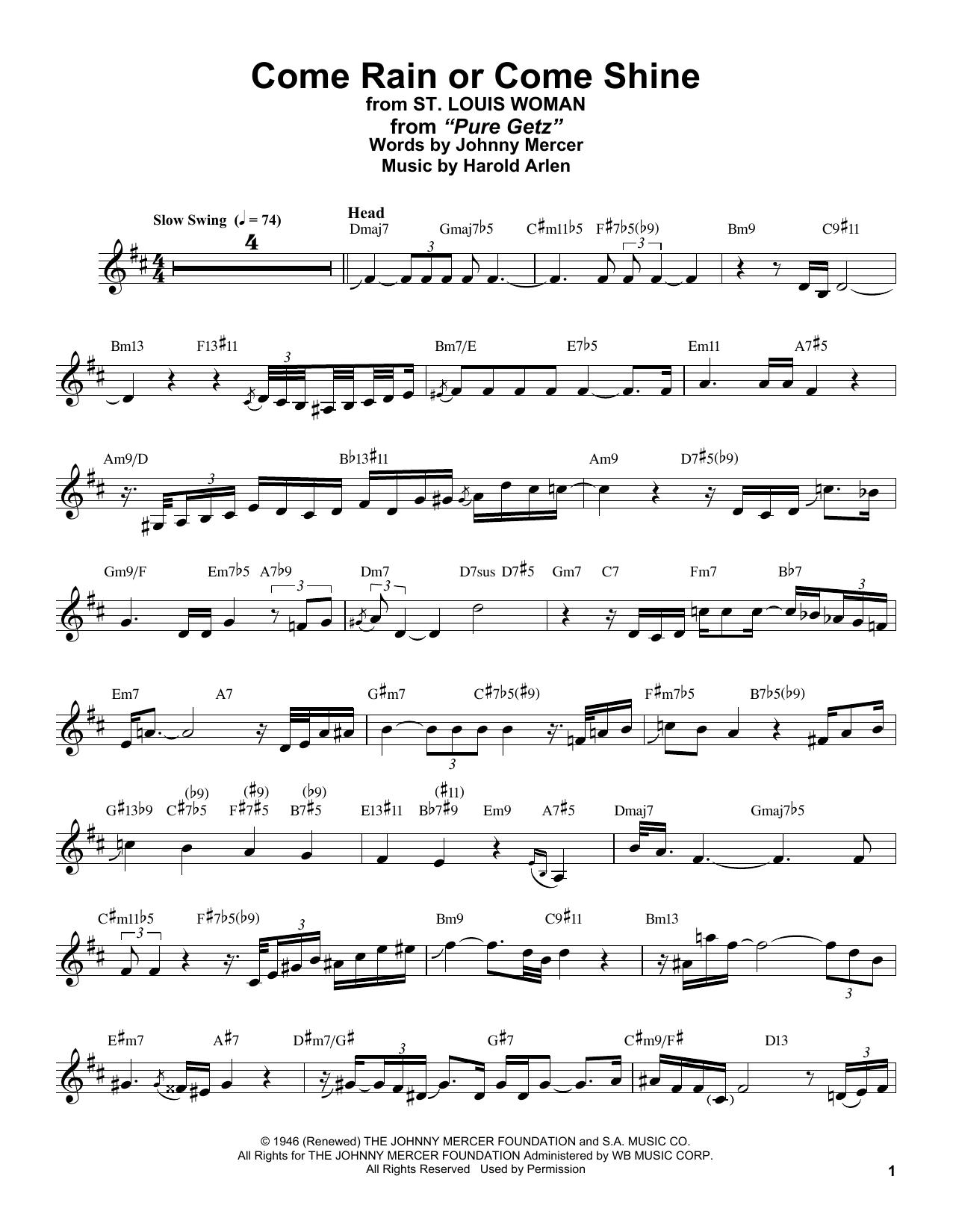 Come Rain Or Come Shine (from St. Louis Woman) (Alto Sax Transcription)
