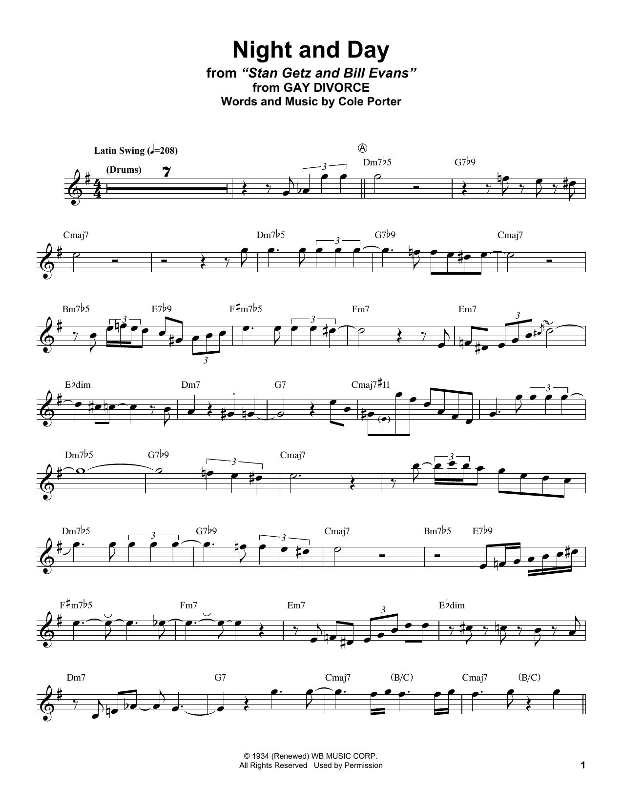 Night And Day (Alto Sax Transcription)