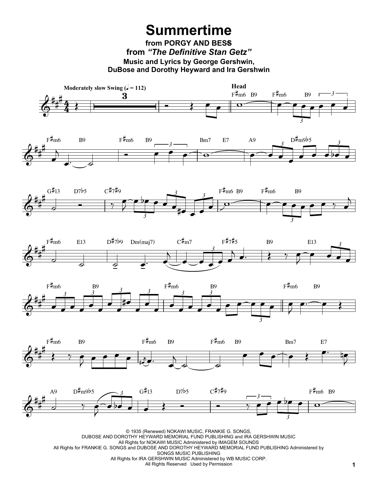 Summertime (from Porgy and Bess) (Alto Sax Transcription)