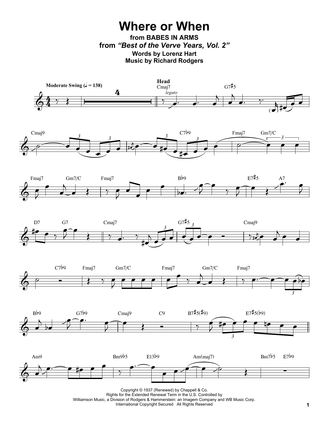 Where Or When (from Babes In Arms) (Alto Sax Transcription)