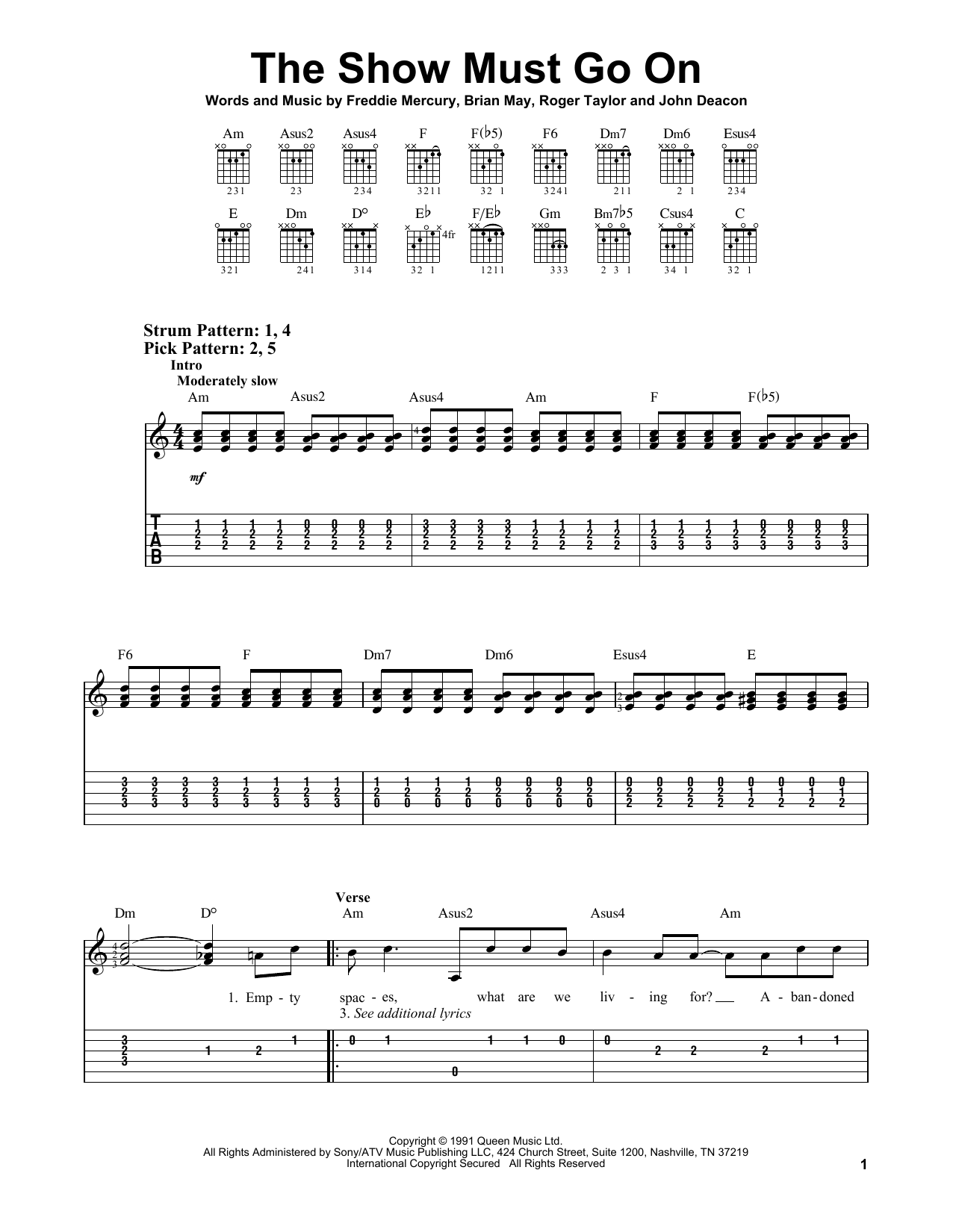The Show Must Go On (Easy Guitar Tab)