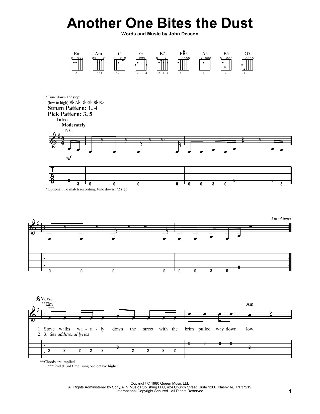 Another One Bites The Dust (Easy Guitar Tab)