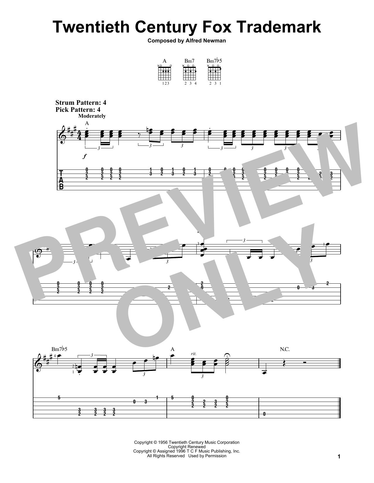 Twentieth Century Fox Trademark (Easy Guitar Tab)