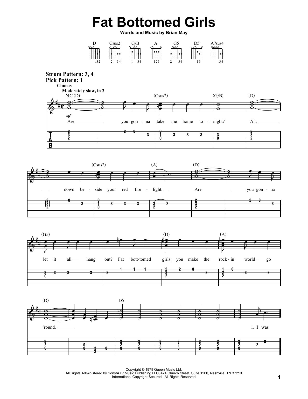 Fat Bottomed Girls (Easy Guitar Tab)