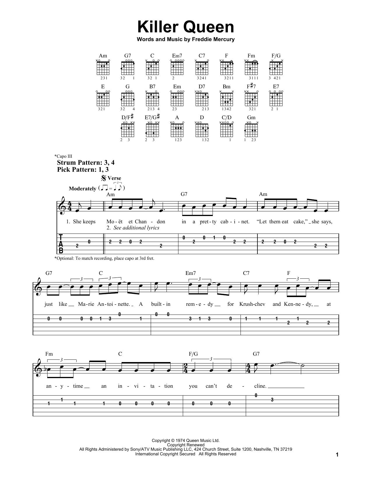 Killer Queen Sheet Music | Queen | Easy Guitar Tab