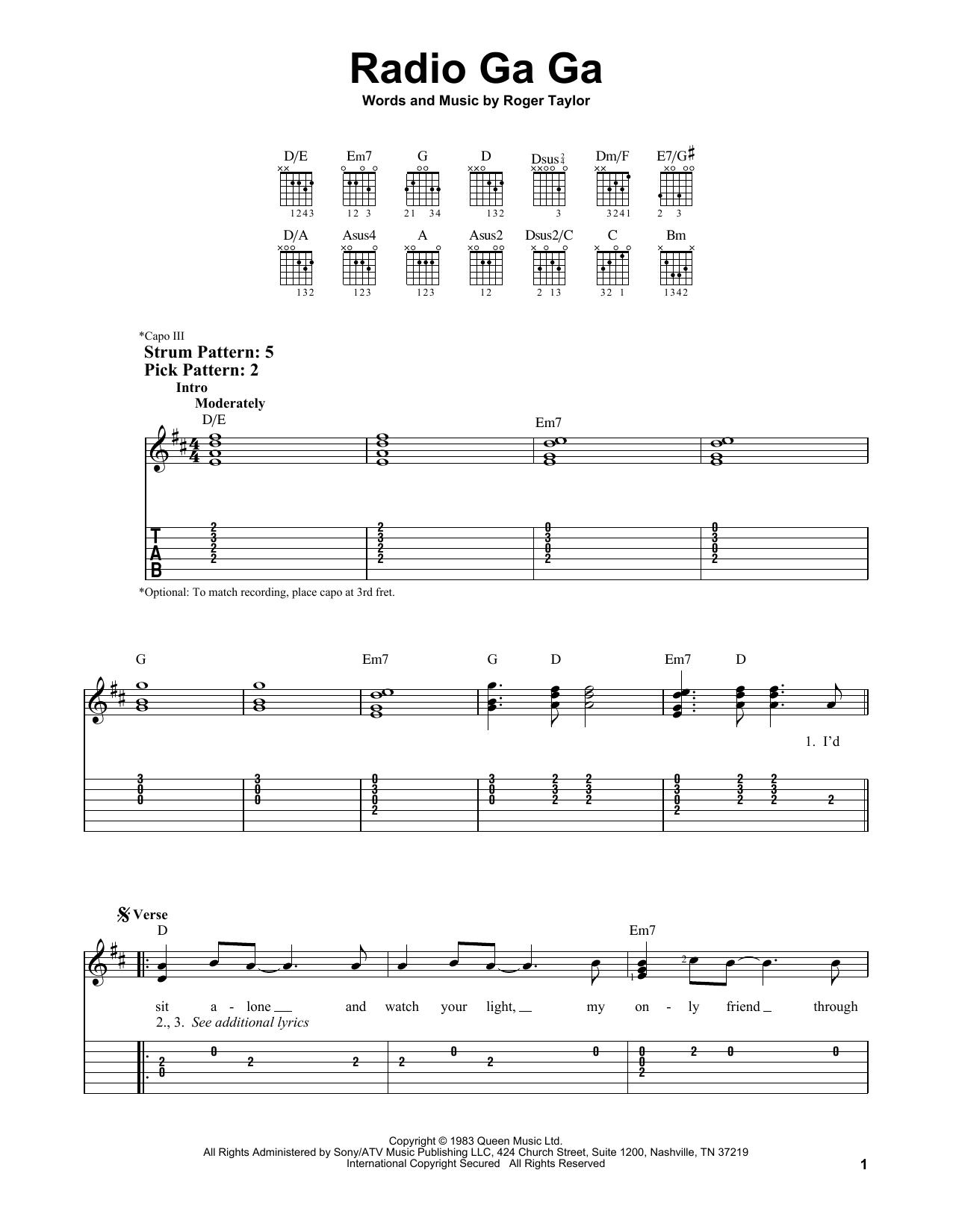 Radio Ga Ga (Easy Guitar Tab)